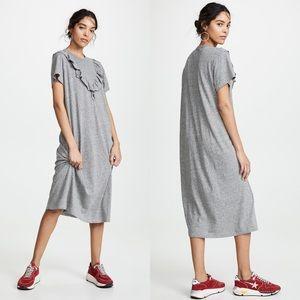THE GREAT   The Tuxedo Grey Midi Shirt Dress